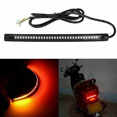 48 LED Motorcycle Flexible Turn Signal Amber Integrated 2 Strip Brake Tail Light eBay Motors