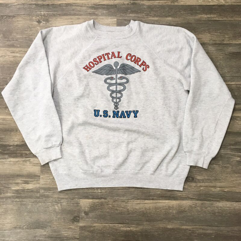 Vintage Navy Hospital Corps 80s 90s Crewneck Military Sweatshirt XL