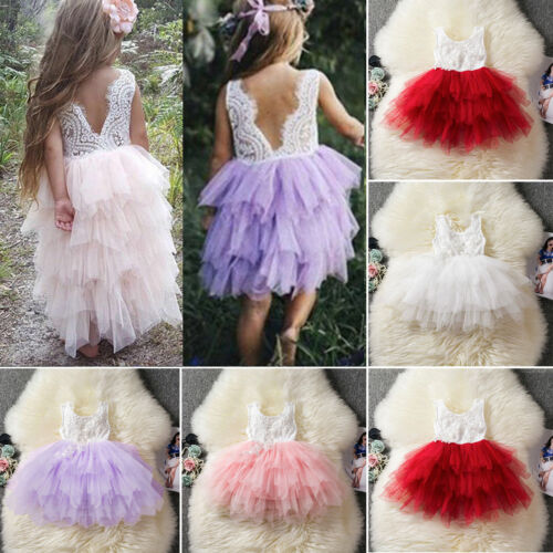 Toddler Baby Flower Girl Tunic Tutu Dresses Party Wedding Pa
