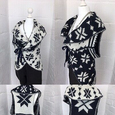 Mohair Blend Italian Nordic Fair Isle Cosy Gilet Knitwear Ladies One Size Warm