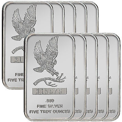 Trademark Bald Eagle 5oz .999 Fine Silver Bars by SilverTowne LOT OF 10 #4831