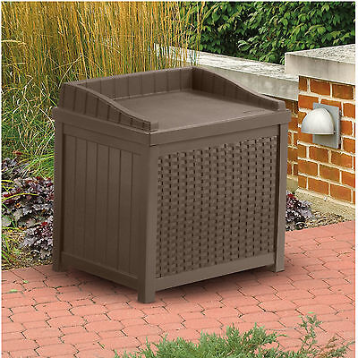 Box Patio Outdoor  Garden Storage Furniture Resin Wicker Seat Deck Pool Yard Bin