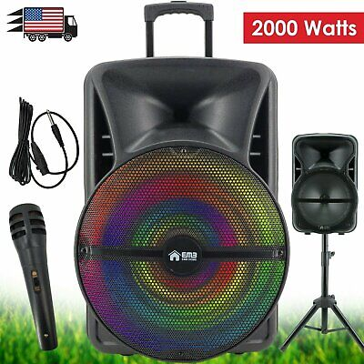 "EMB 2000 Watts 18"" Rechargeable Portable PA DJ Speaker, Bluetooth, Light w/MIC"