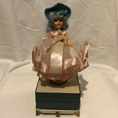 Vintage Swissco Musical Powder Chest with Dancing Ballerina blue hair with box