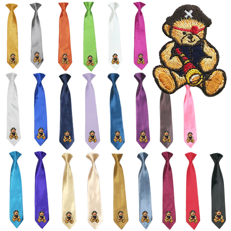 23 Color Stain Solid Clip-on Pirate Bear Necktie Boys Formal Suits Newborn - 7