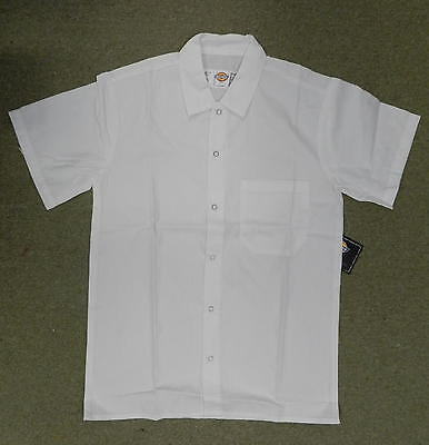 Dickies Chef Shirt XS Server White Ring Snap Front Restaurant Uniform SS New