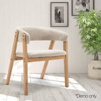 Fabric Dining Chair with PU Lacquer Finish Beige