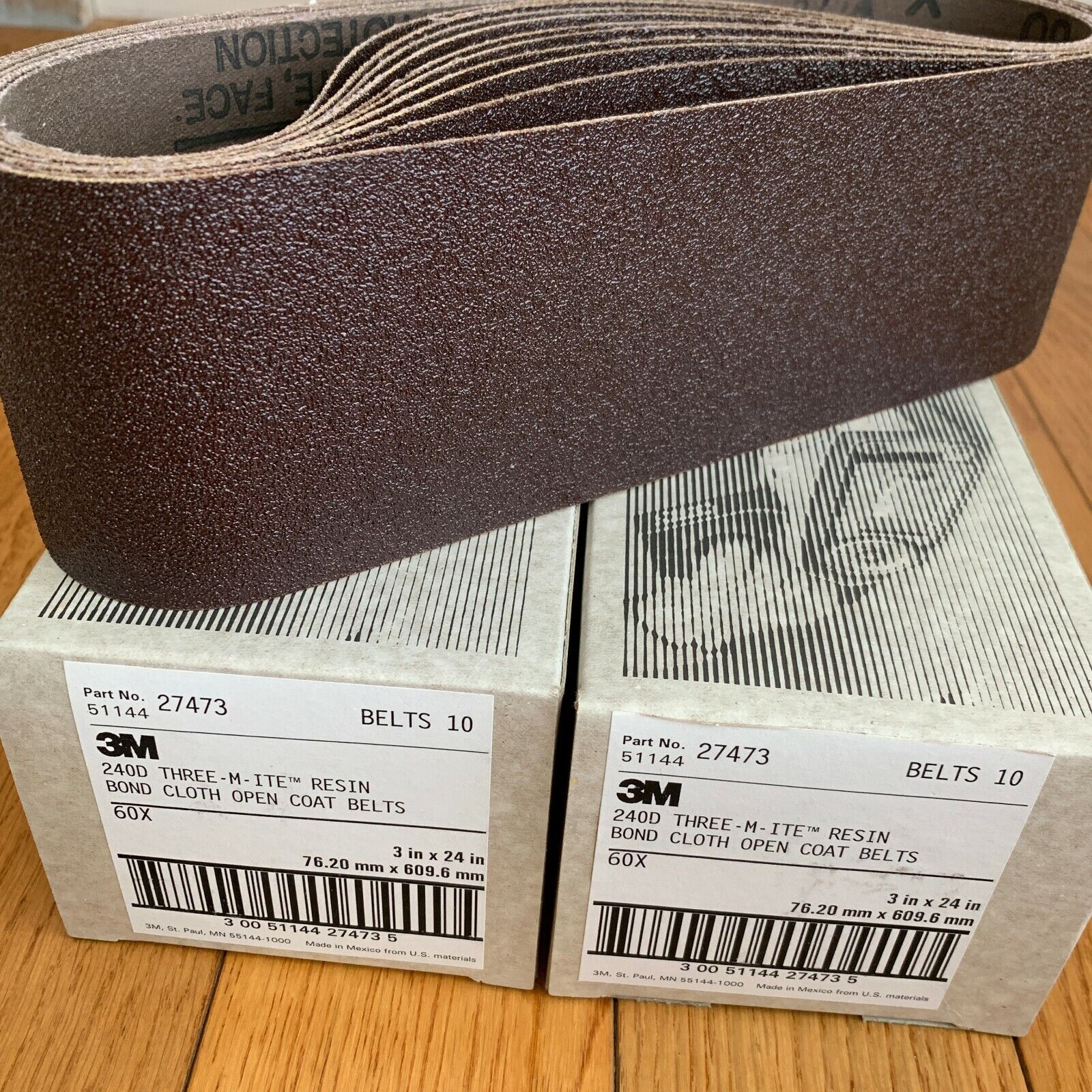 2 Boxes  3M 80 Grit Resin Bond Cloth Open Coat Sanding Belt