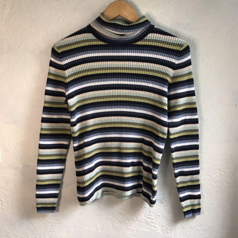 1990s Vintage Blue Green Striped Ribbed Turtleneck Knit Top Size Medium