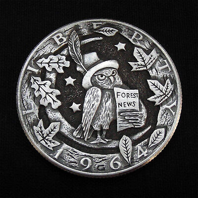 Hobo Nickel Forest News hand carved 1964 Half Dollar Kennedy Silver Coin by GP