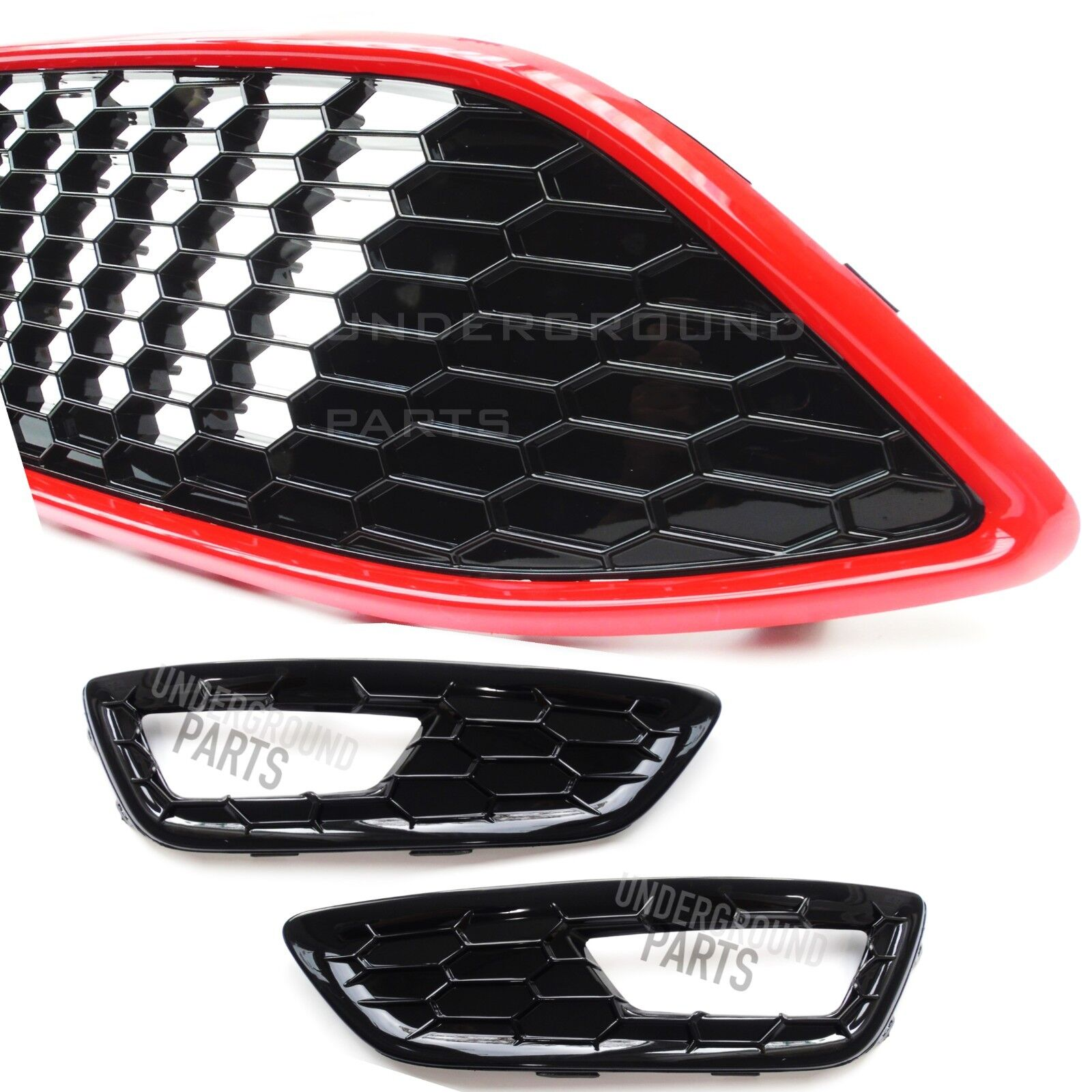 Underground Parts F-FC-27 Gloss Black Honeycomb Front Bumper Lower Grilles /& Fog Light Surrounds