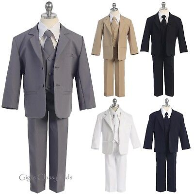 Boys Formal 5 Pc Suit Kids Wedding Party First Communion Baptism Kids - Communion Suits Boys