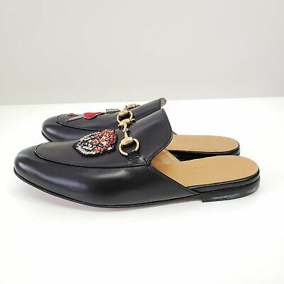 Gucci Black Tiger & Pierced Heart Princetown Slip-on Loafers | Black | NWB $1100