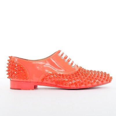 CHRISTIAN LOUBOUTIN Freddy electric pink neon spike studded laced flats EU37.5