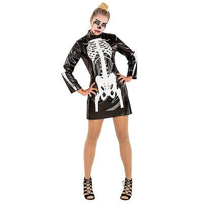 Skelett Kleid Kostüm Karneval Fasching Halloween Damen Knochen Skelettkleid kurz