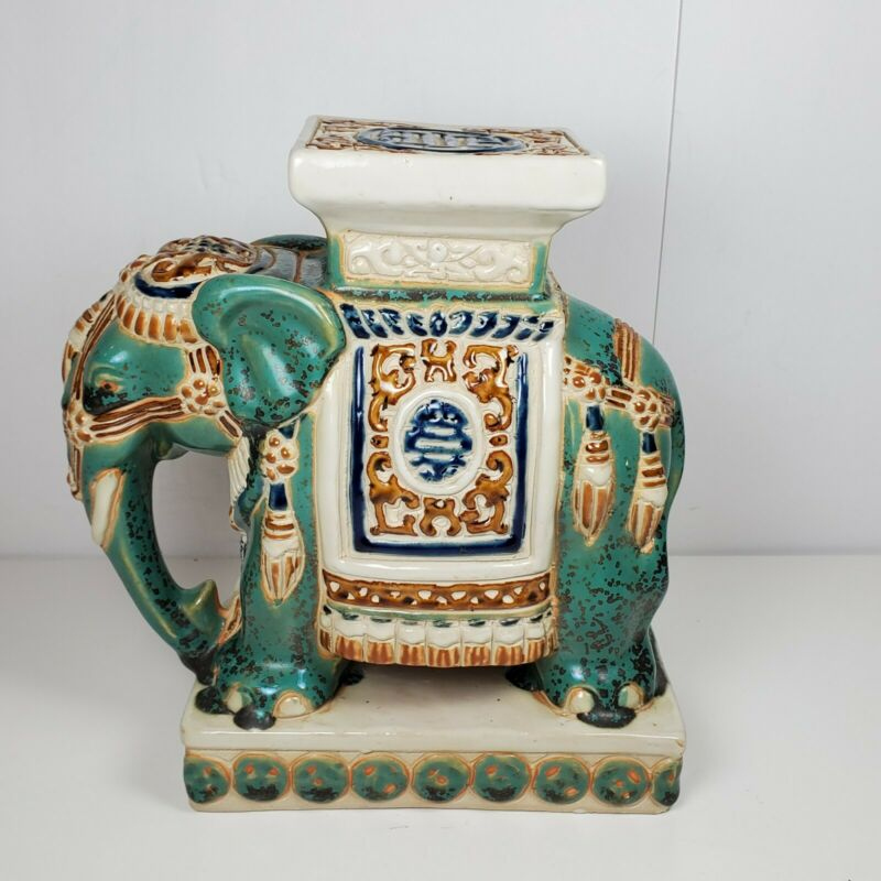 Asian Ceramic glazed Elephant Plant Stand Figurine Garden Decoration vintage