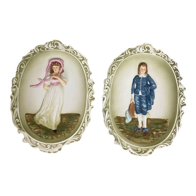 "Vintage Lefton PINKY & BLUE BOY 8.5"" Porcelain WALL PLAQUES 3-D  KW3504"