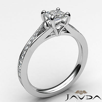 Classic Side Stone Pave Princess Diamond Engagement Ring GIA D Color SI1 0.85Ct 1