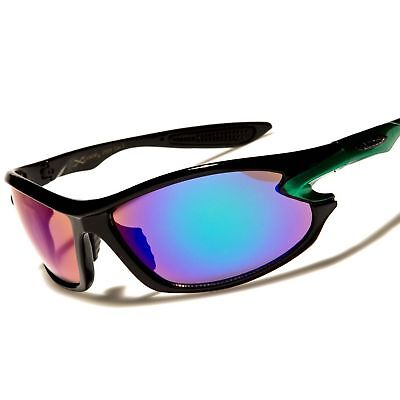 Cool Athletic Golf Baseball Green Mirrored Lens Rectangle Wrap Sport Sunglasses