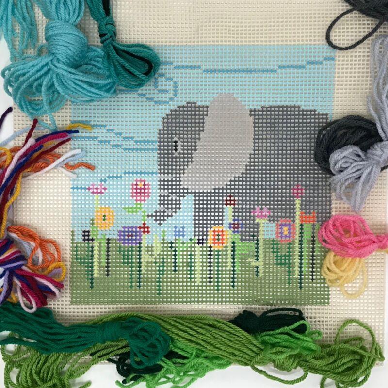 Sandra Gilmore Handpainted Needlepoint Canvas Elephant quick point large holes