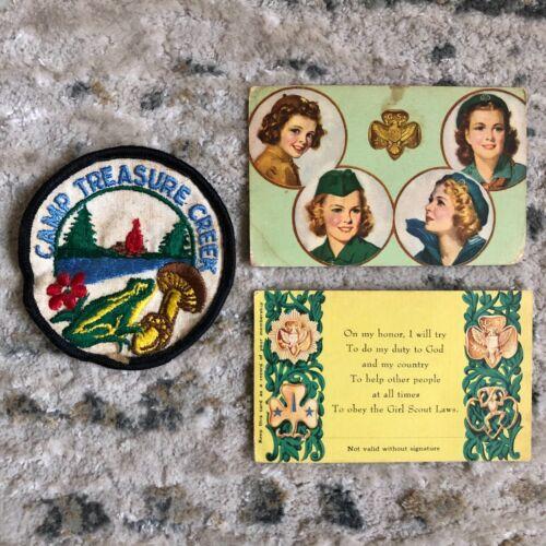 2 Vintage 1959 GSA Girl Scout America Certificates of Membership + 1 Badge