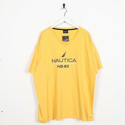 Vintage NAUTICA Big Spell Out Logo T Shirt Tee Yellow | XXL