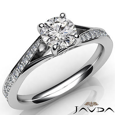 Round Cut Diamond Engagement Split Shank Pave Ring GIA Certified F VS2 0.85 Ct