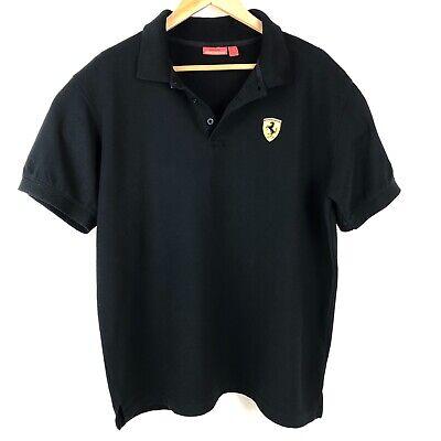 Ferrari Official Mens T Shirt Short Sleeve Collared Black Cotton Size UK L US M