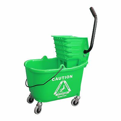 Sunnycare 35qt Mop Bucket With Wringer Side Press -plastic -green -new