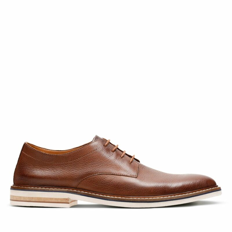 Clarks Mens Dezmin Plain Brown Leather Dress Casual Oxford Shoes