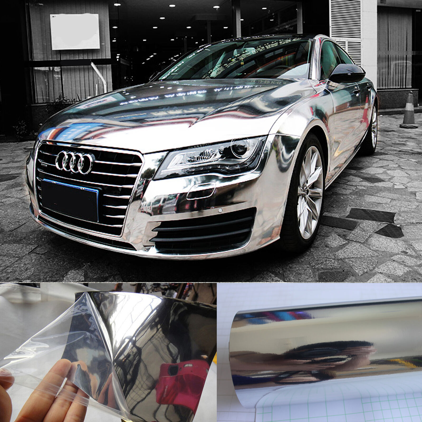 Details about 12 x 60 cool car wrap flat glossy mirror chrome vinyl sticker film silver hd