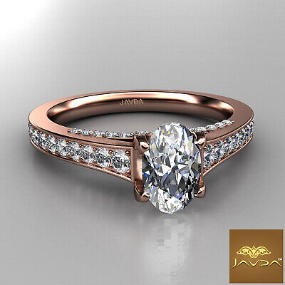 Bridge Accent Oval Diamond Engagement Cathedral Ring GIA Certified F VVS1 1.25Ct 9