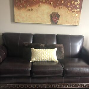 3 piece leather living room set with 4 tables