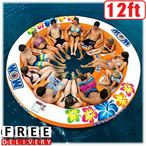 Large Giant Inflatable Boat Water Float Island Lounge 12 Person Lake Ocean Party