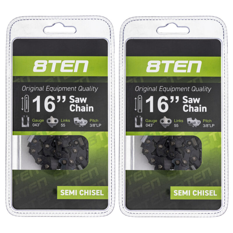 Chainsaw Chain for Stihl MS170 MS180 017 019 023 16 Inch .043 3/8 55DL 2 Pack