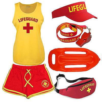 Womens 'Lifeguard +' Costume Fancy Dress Set: Ladies Cool Vest, Shorts + Options (Lifeguard Costume Women)