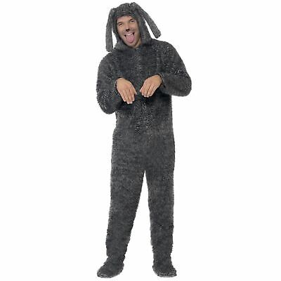 Adults All In One Hooded Fluffy Dog Fancy Dress Costume Men's Women's Halloween](Dogs Dressed In Halloween Costumes)