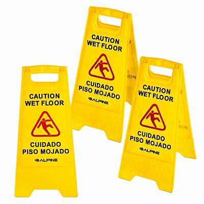 """Alpine Industries Yellow 24"""" Caution Wet Floor Sign Set of 3"""