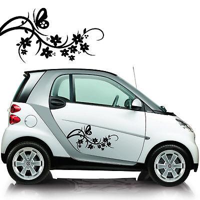 KIT ADESIVI PER AUTO decal auto moto camper stickers FIORI E FARFALLE- AUTO,MACCHINA,SCOOTER NOVITA! bianco