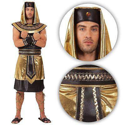 da uomo adulto antico egiziano pharoh RE VESTITO COSTUME ORO REALE God BN