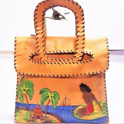 1950s Handbags, Purses, and Evening Bag Styles Vintage 1950s Hand Painted SURFING GIRL All Leather Tote Whipstitched Bag MOD  $139.99 AT vintagedancer.com