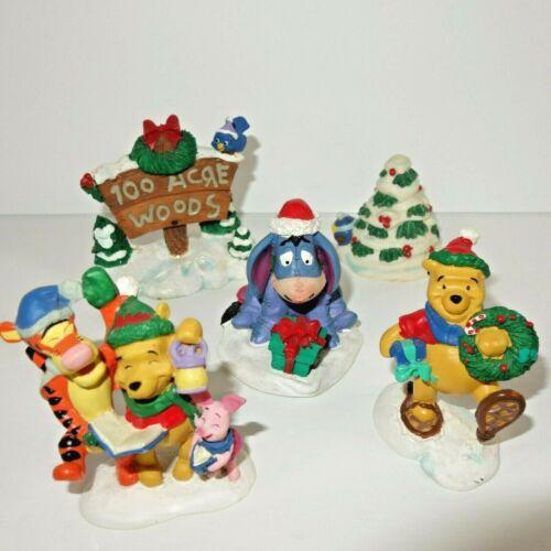 Disney Winnie the Pooh 100 Acre Woods Lot Christmas Eeyore Tigger Piglet 5pc set
