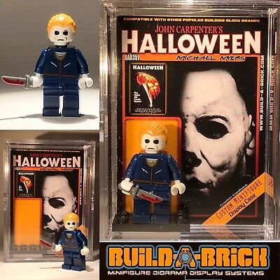 HORROR Halloween Michael Myers custom MINIFIGURE w Display Case & lego stand 351