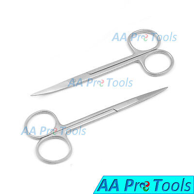 2 Iris Scissors 4.5 Curved Straight Surgical Dental Instruments