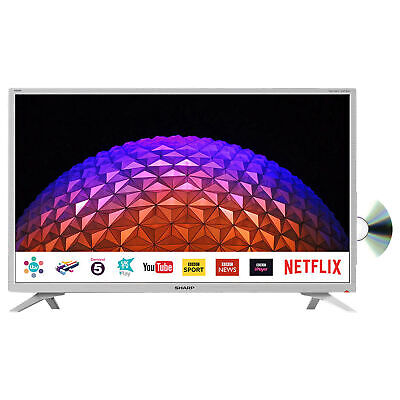 """Sharp 32"""" Inch White Smart TV HD with Freeview Play, DVD Player, Wi-Fi"""