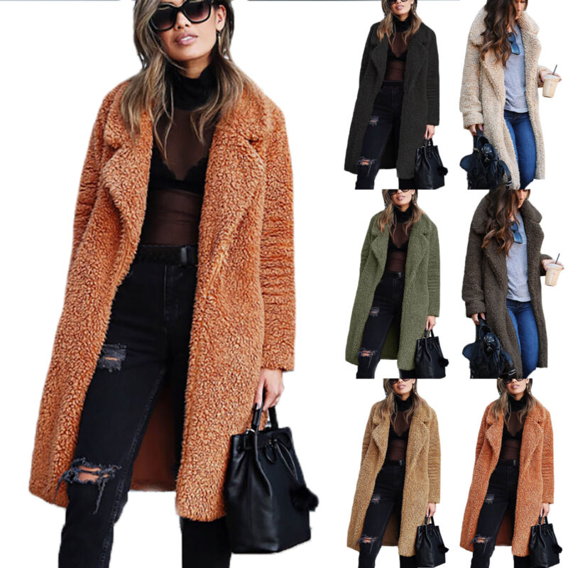 Women Warm Teddy Bear Coat Cardigan Ladies Winter Thick Overcoat Jacket Outwear