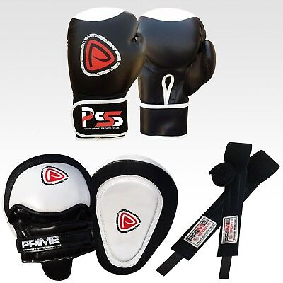 BOXING GLOVES SPARRING FIGHT TRAINING PUNCH BAG FOCUS GEL PADS HAND WRAPS SET 2 (Boxing Training Bag)