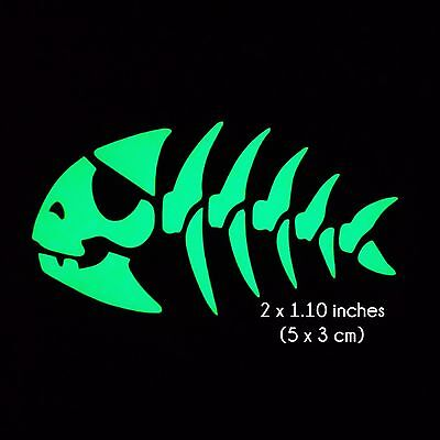 Pirate Fish Skeleton Glow in the Dark Sticker Decal - 2 x 1.1 Inches