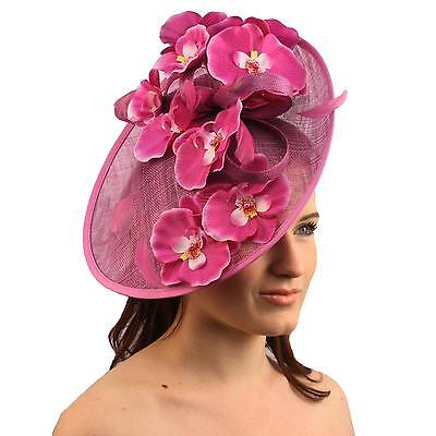 Orchid Floral Feather Handmade Derby Headband Fascinator Millinery Church Orchid