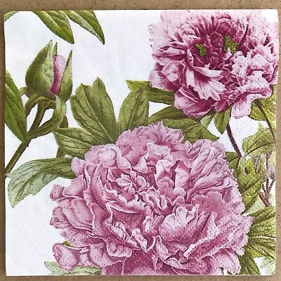 Pink Cocktail Napkins (2 single Decoupage Cocktail Napkins Peonies Pink Flower Blooms Shabby)